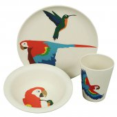 Zuperzozial Kindergeschirr Set  Hungry Parrot